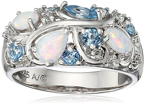 Sterling Silver Created Opal with Blue and White Topaz Accent Ring, Size 7