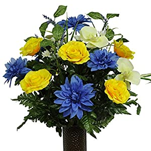 Yellow Roses Blue Dahlias and Orchids, featuring the Stay-In-The-Vase Design(C) Flower Holder (MD1355) 45