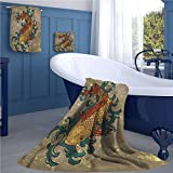 warmfamily Japanese Pattern towel set Grunge Asian Style Oriental Water Koi Carp Fish Aquatic Theme Distressed Pattern Square scarf set Multicolor