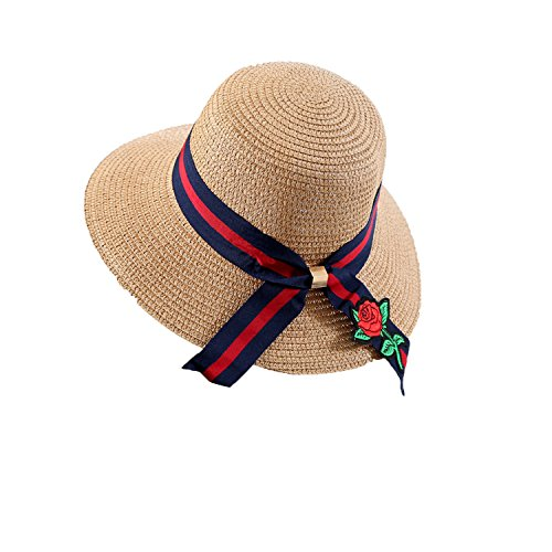 Heart .Attack Large caps Seaside Resort Sunscreen Sequin Tourism Folding Straw Hat Female,D-58 Striped Streamer Rose Khaki