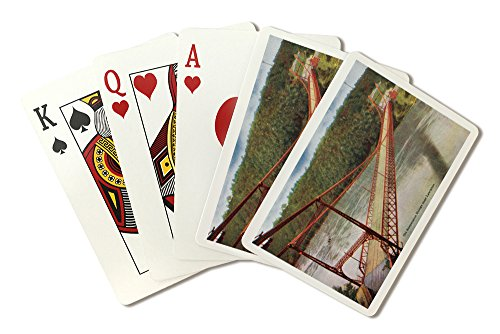 (Lewiston, New York - View of the Old Suspension Bridge (Playing Card Deck - 52 Card Poker Size with Jokers))