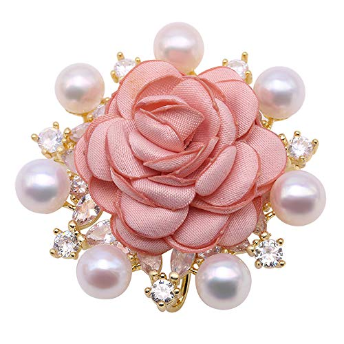 JYX Pearl Pink Rose Brooch White Cultured Freshwater Pearl Brooch Pin
