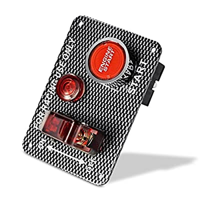 QUWEI Carbon Fiber Racing Car 12V Ignition Switch Panel Engine Start Push Button Red LED Toggle (Red): Automotive