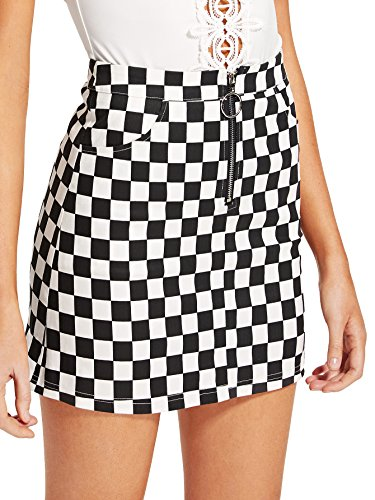 WDIRARA Women's Elegant Mid Waist Above Knee O-Ring Zipper Front Plaid Skirt Black L