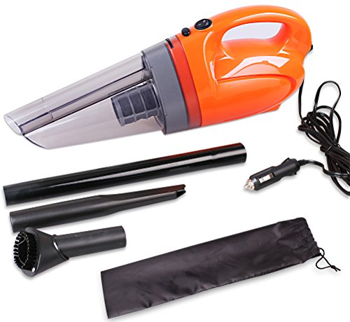 Cartman DC12V Car Vacuum Cleaner w Carry Bag, Heavy Duty 90Watt, Cyclone Design, Orange Color