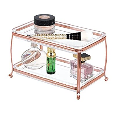 mDesign Decorative Makeup Storage Organizer Vanity Tray for Bathroom Counter Tops, 2 Levels to Hold Makeup Brushes, Eyeshadow Palettes, Lipstick, Perfume and Jewelry - Rose Gold/Clear - ELEGANT ORGANIZATION: This beautiful storage organizer eliminates bathroom countertop clutter and adds a decorative touch to your room; Use for display or for more practical everyday needs; Keep perfumes, body sprays, misters, lotions, and essential oils at the ready; Use as a resting spot for earrings necklaces, smart watches and cell phones; Set this free-standing cosmetics caddy on your dresser, vanity, or bathroom counter to bring convenient, modern makeup storage to your space 2-TIERED STORAGE: This cosmetic organizer with two shelf trays will keep items organized and in their place; Perfectly organize all of the items for your morning and nighttime face care regimen - lotions, oils, toners, serums, creams and face masks will be organized and ready to go; This double tray stores all of your beauty needs: magnetic eyelashes, lip liner, eye shadows, contour palettes, kits, blush palettes, face powder and lip gloss, and lip balm will all be within easy reach FUNCTIONAL & VERSATILE: The vertical storage and slim design allows this 2-shelf tray set to fit onto small or crowded bathroom vanities and countertops; Use in half baths, powder rooms, and guest baths where space might be more limited, also perfect for makeup tables, dresser tops, shelves, closets and inside cabinets; Use in any room of your home for a more decorative storage option; Perfect for home, dorms, apartments and condos - organizers, bathroom-accessories, bathroom - 51SkI7Z6FmL. SS400  -