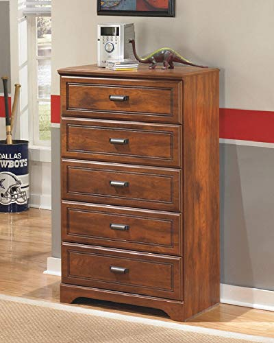 - Ashley Furniture Signature Design - Barchan Chest of Drawers - 5 Drawers - Casual Replicated Cherry Grain - Medium Brown