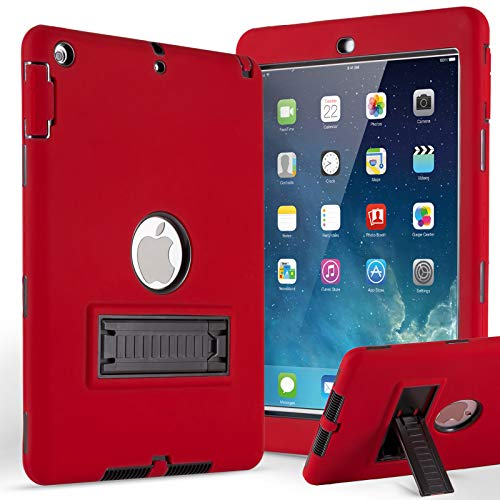 iPad Air Case,iPad 5 Case,ZERMU 3in1 Kickstand Feature Heavy Duty Shockproof Rugged Cover Silicone+Hard PC Bumper High-Impact Resistant Armor Defender Full Body Protective Case for iPad Air/iPad 5