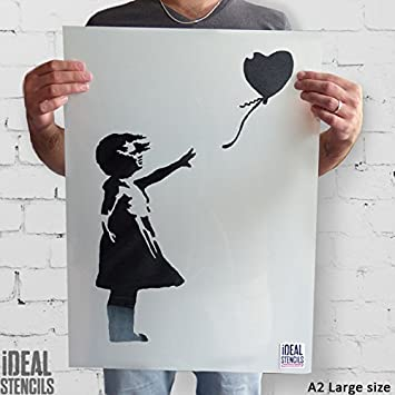 fille au ballon de Banksy Pochoir Ré utilisable Dé coration murale pochoir Graffiti BANKSY STYLE ART POCHOIR PEINTURE murs Fabrics & MEUBLE - semi transparent pochoir, XS/ 11X17CM Ideal Stencils