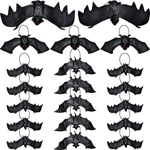 Tatuo 20 Pieces Halloween Hanging Bats Fake Spooky Bats Toy for Halloween Eve Party Decoration, 5 Assorted Sizes