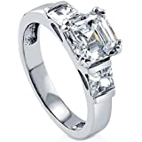 Fashion Women White Topaz Gemstones 925 Silver Wedding Ring (9)