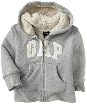 64c3e649b64ad GAP (ギャップ) baby GAP フード付き ロゴ付き ボア パーカー (グレー)