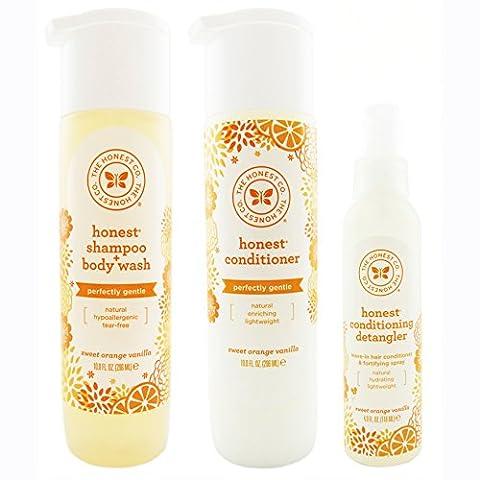The Honest Company Sweet Orange Vanilla - Shampoo + Body Wash (10 oz) & Conditioner (10 oz) + Conditioning Detangler (4 oz)