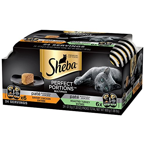 Sheba Perfect Portions Multipack Chicken Entree and Turkey Entree Wet Cat Food, 2.6 oz, 12 Twin Packs (Sheba Cat Food)