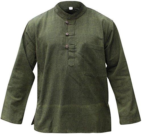 Mens Plain Hemp Collarless Grandad Shirt Full Sleeved Hippie Summer Light Tops[XL,Green] ()