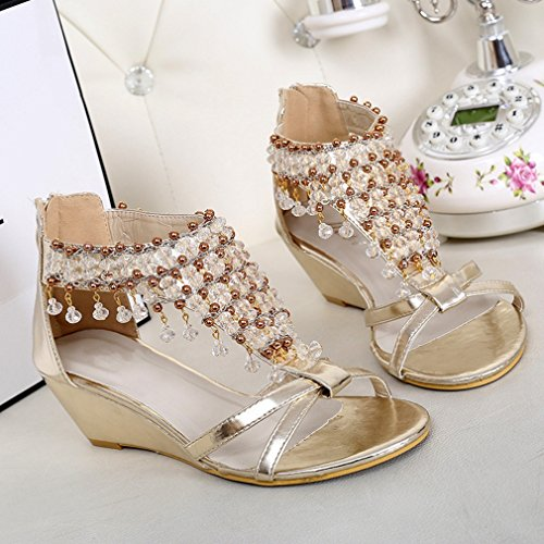 CYBLING Fashion Women Open Toe Bohemian Rhinestones Wedge Sandals Shoes Gold LDYIK9vKQ