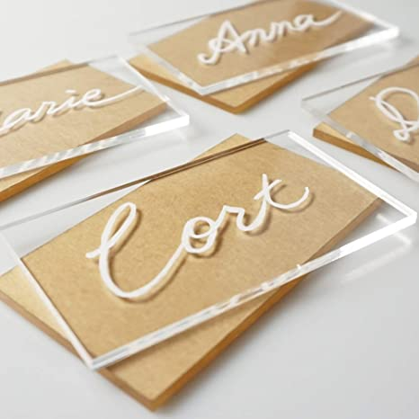 White Lettering in Gold First Silver Black Last Name Available Painted or Clear Acrylic Rectangle Place Cards