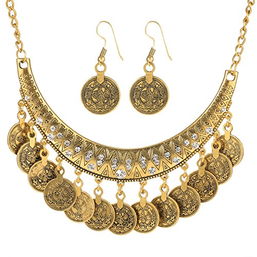 Zeagoo Women Round Dangle Coin Tassel Pendant Chain Ethnic Style Necklace Earing Jewelry Set