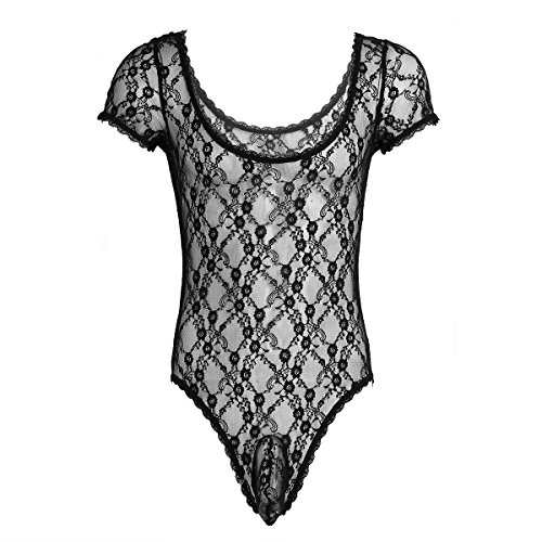 FEESHOW Men's One Piece Bodysuit Mesh Lace Sissy Pouch Panties Lingerie Leotard Thongs Black M (String Teddy)
