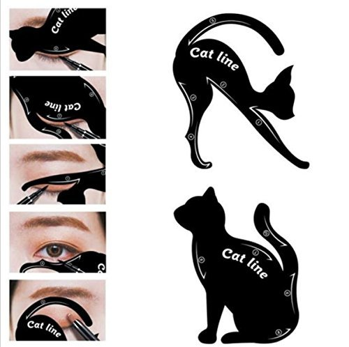 Uspeedy 2 in 1 Cat Eye Liner Cat Eye Eyeliner Stencil Eye Liner Makeup New Design Eyeliner Stencil Models Eyebrow Eyes Liner Waterproof Template Shaper Tool (5 (Draw A Cat Face For Halloween)