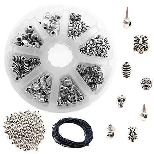 Metal Bead Kit - 240 Antique Silver Metal Spacer Beads for Jewelry Making Adults, 9 Style Casting & Steel Bulk Bead Assortment for DIY Bracelets & Necklace, Wholesale Bead Spacers Findings w/Organizer & 10m Wax Cord