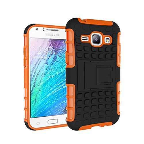 Galaxy J1 (4.3 inches) Funda,COOLKE Duro resistente Choque Heavy Duty Case Hybrid Outdoor Cover case Bumper protección Funda Para Samsung Galaxy J1 (4.3 inches) - naranja naranja