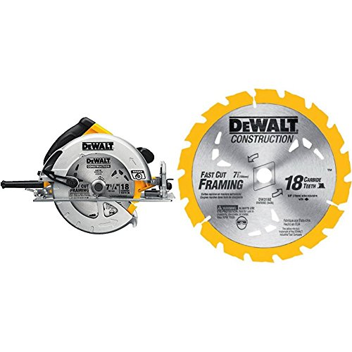 DEWALT DWE575SB 7-1/4-Inch Lightweight Circular Saw with Electric Brake and 7-1/4-Inch 18 Tooth ATB Thin Kerf Framing Saw Blade with 5/8-Inch and Diamond Knockout ()
