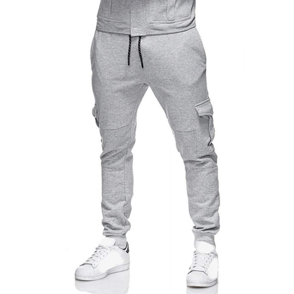 Dressin Sport Pants Men's Sport Pant Sollid Sport Baggy Pockets Sweatpants Slacks Casual Elastic Trousers Pant Gray
