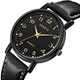 Zaidern Men Watches,Men's Women Watch Luxury Sport Stainless Steel Case Casual Analog Quartz Wristwatches Retro Simple Design Business Dress Waterproof Leather Band Round Large Dial Wrist Watches