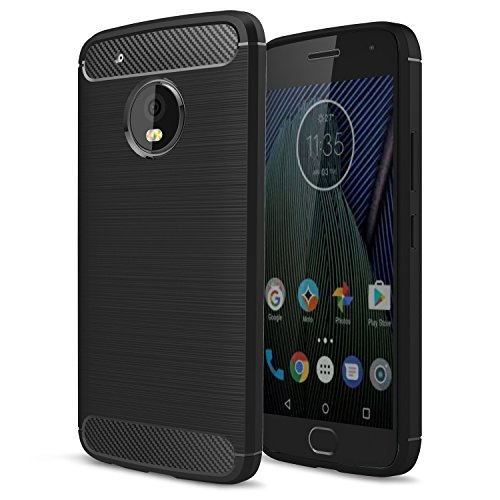 5th Generation 5g Phone - Moto G5 Plus Case, Moto X 2017 Case,AnoKe Ultra [Slim Thin] Carbon Fiber Scratch Resistant Shock Absorption Soft TPU Drawing Grip Protective Cases Cover for Moto G Plus (5th Generation) HWLS Black