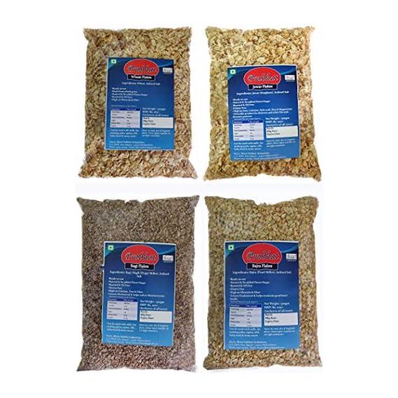 Prabhat Wheat Flakes, Jowar Flakes, Bajra Flakes, Ragi Flakes, 4 x 500 g