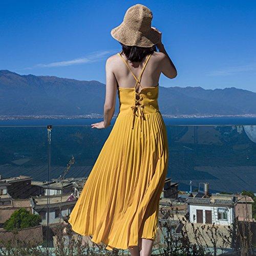 Amarilla Femenino GAOLIM Arnés Superior La Plisado Vacaciones De Vestido Parte Del L Falda Tubo pq8xwOFp
