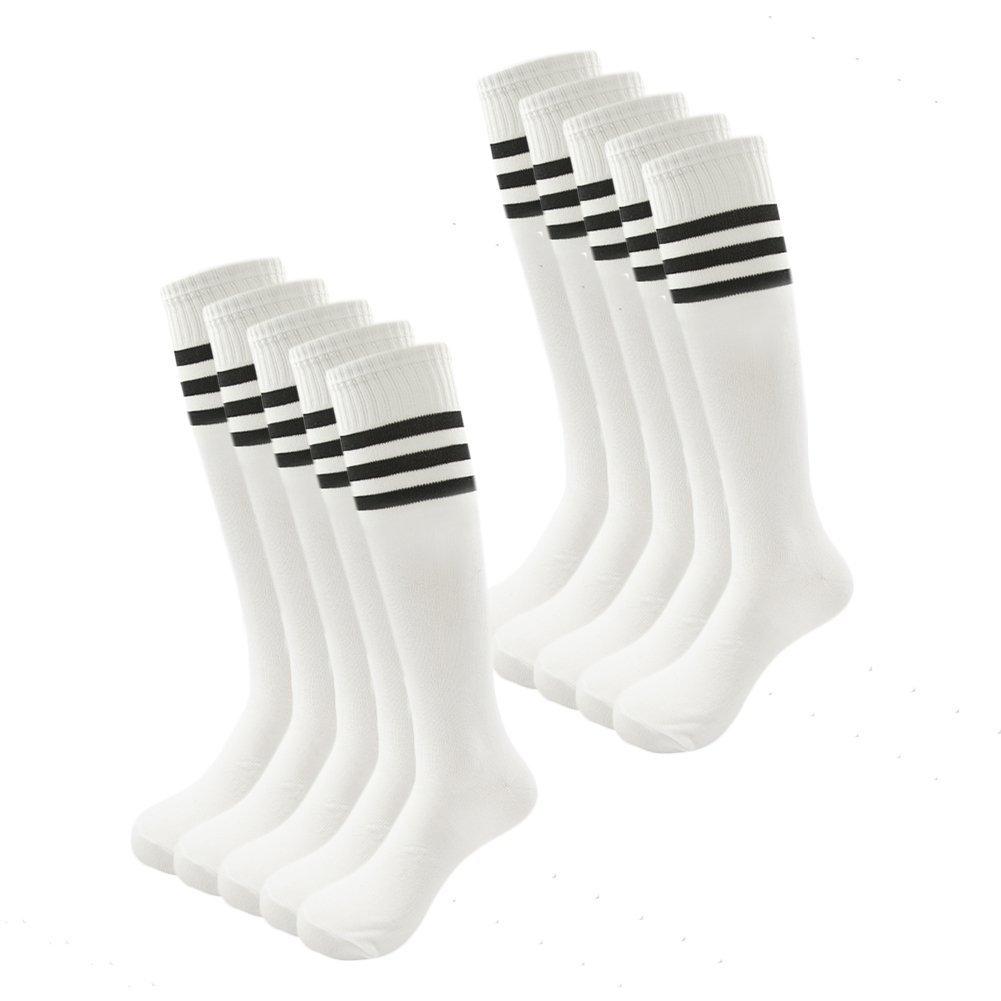 Kids Soccer Socks Wholesale 50 Pair Teenager Knee Long Compression Team Socks (White)