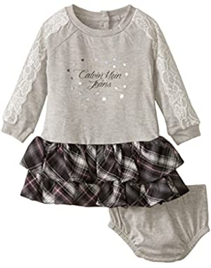 Baby Girls' Dress with Printed Skirt