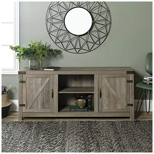 Farmhouse Living Room Furniture Walker Edison Georgetown Modern Farmhouse Double Barn Door TV Stand for TVs up to 65 Inches, 58 Inch, Grey farmhouse tv stands