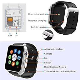 Evershop Newest SIM Card Bluetooth Connectivity Sports Smart Watch with Heart Rate Monitor and Wristwatch Phone Mate Independent Smartphone for Android and IOS (Silver)