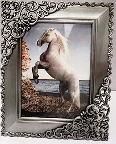 Express 2.5 x 3.5 Pewter Antique Style Ornate Filigree Silver Picture Photo Frame