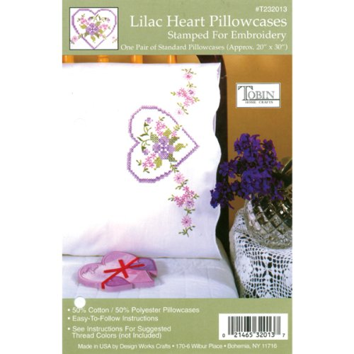 (Tobin Stamped Pillowcase Pair Stamped Cross Stitch Kit for Embroidery, 20 by 30-Inch, Lilac Heart )