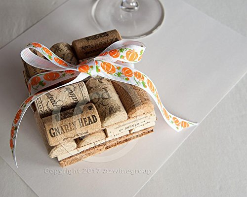 Halloween Cork Coasters Set of 4 Wine Cork Crafts, Wedding Favors, Rustic Wedding Decor, Wine Themed -