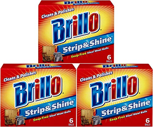 Brillo Supreme Strip & Shine Soap Free Steel Wool Balls 6 balls (Pack of 3)