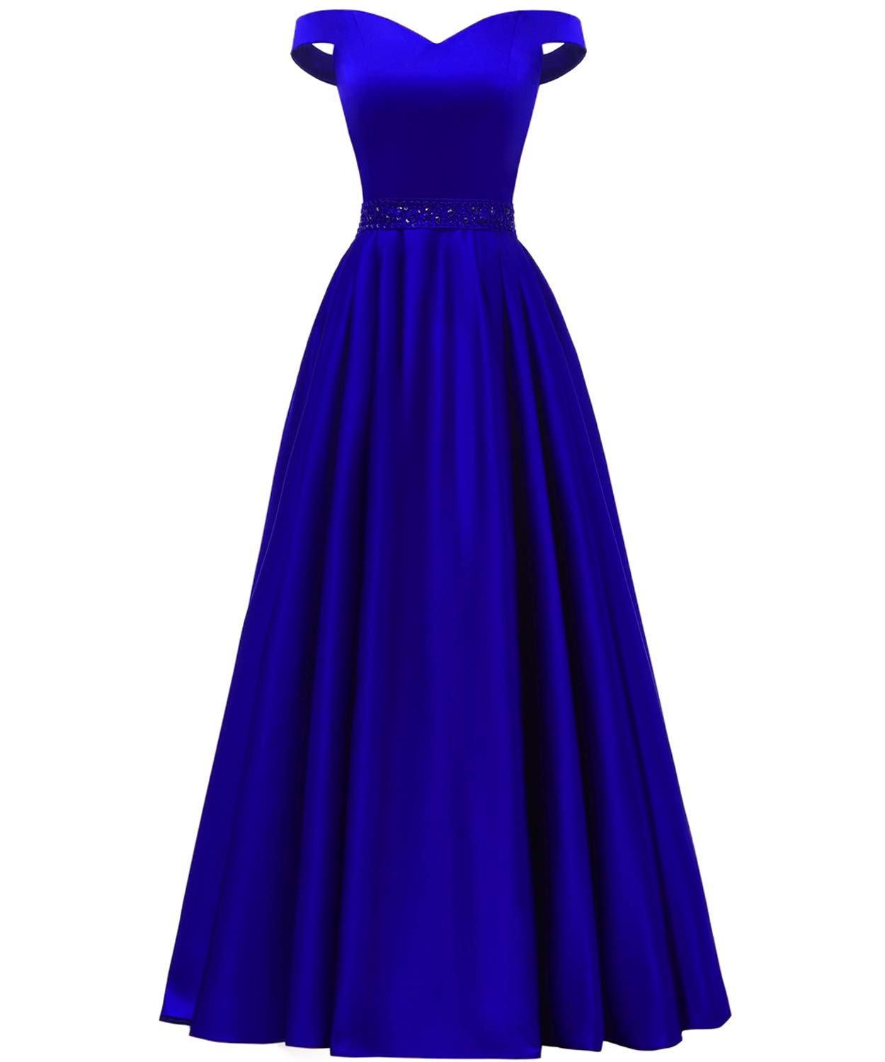 YORFORMALS Off The Shoulder A-line Beaded Satin Plus Size Prom Dress Long  Evening Ball Gown with Pockets Size 26 Royal Blue
