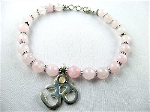 June Bead Boy Charm - HiJet Beautiful Rose Quartz Round Bead Bracelet with lucky charm AUM (OM) 10