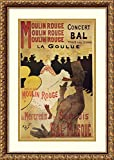 "Product Type: Framed Art Print. Title: Moulin Rouge. Artist: Henri de Toulouse-Lautrec. Subject: entertainment, people, music, global. Frame: Antique Bronze 1 1/4"" Wood. Mat: White/classic gold. Image Dimensions: 10.75"" x 16.75"". Outer Size: 16.88"" x..."