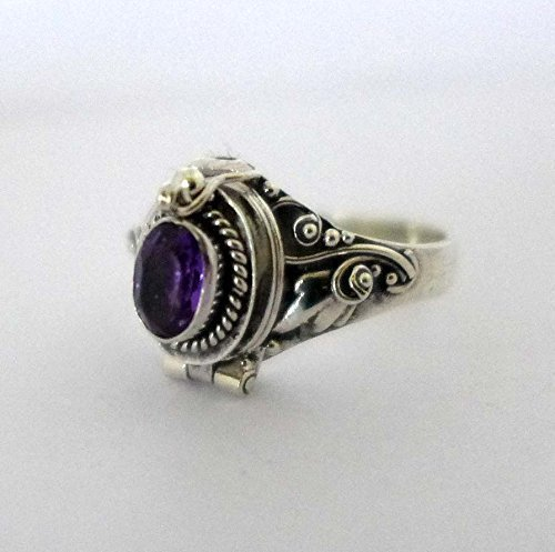 Poison Ring Bali Sterling Silver Locket Ring Amethyst February Birthstone