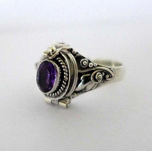 (Poison Ring Bali Sterling Silver Locket Ring Purple Amethyst February Birthstone AR04)