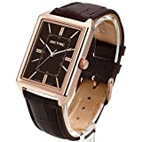 Dictac Wristwatch Men Business Casual Analog Japanese Movement Classic Leather Rose Gold Square Watch