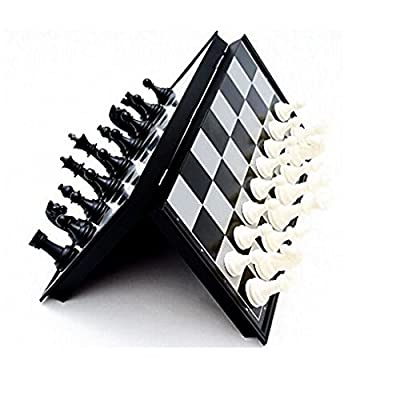 Portable Magnetic Chess Set - Black and White Folding Chess Game - Travel Size Lightweight Chess Strategy Board Game