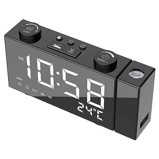 Kuvuiuee - Reloj despertador digital con proyección de radio FM y ...