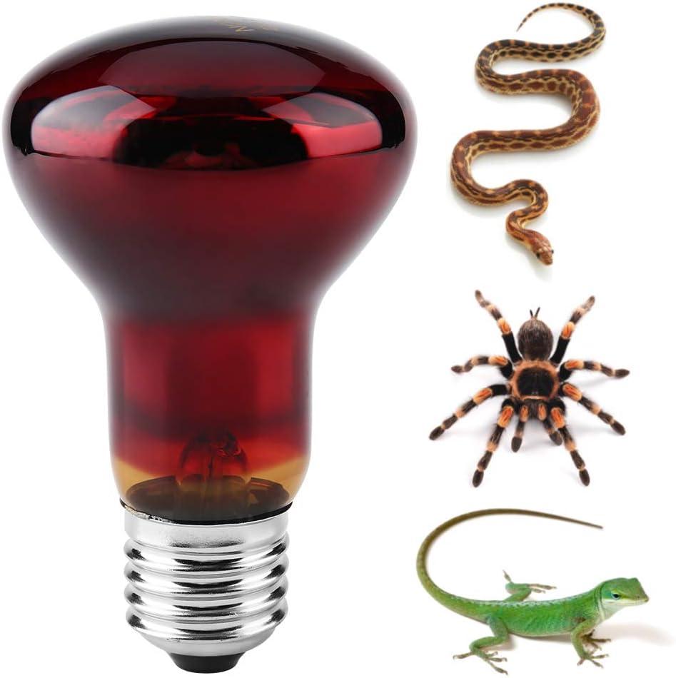 Bombilla de calentamiento de reptiles, lámpara de calor infrarroja duradera Bombilla de calentamiento Luz roja para mascotas para reptiles y anfibios Lagarto tortuga serpiente serpiente camaleón(50W)
