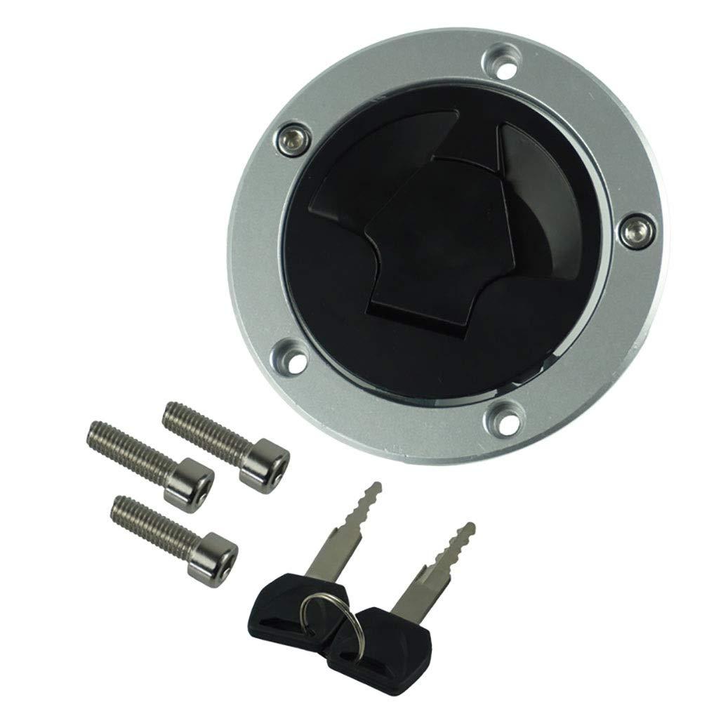 CONGJIEUS Parts, Parts CNC Aluminum Motorcycle Fuel Gas Tank Cap Cover Keys for Kawasaki Ninja ZX6R ZX600 ZX636 ZX10R ZX14R ABS 07-15 (Color : Black)
